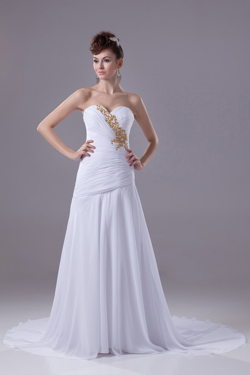 Two tone sequin wedding dress   A Line Princess Sweetheart Sweep Chiffon dress with