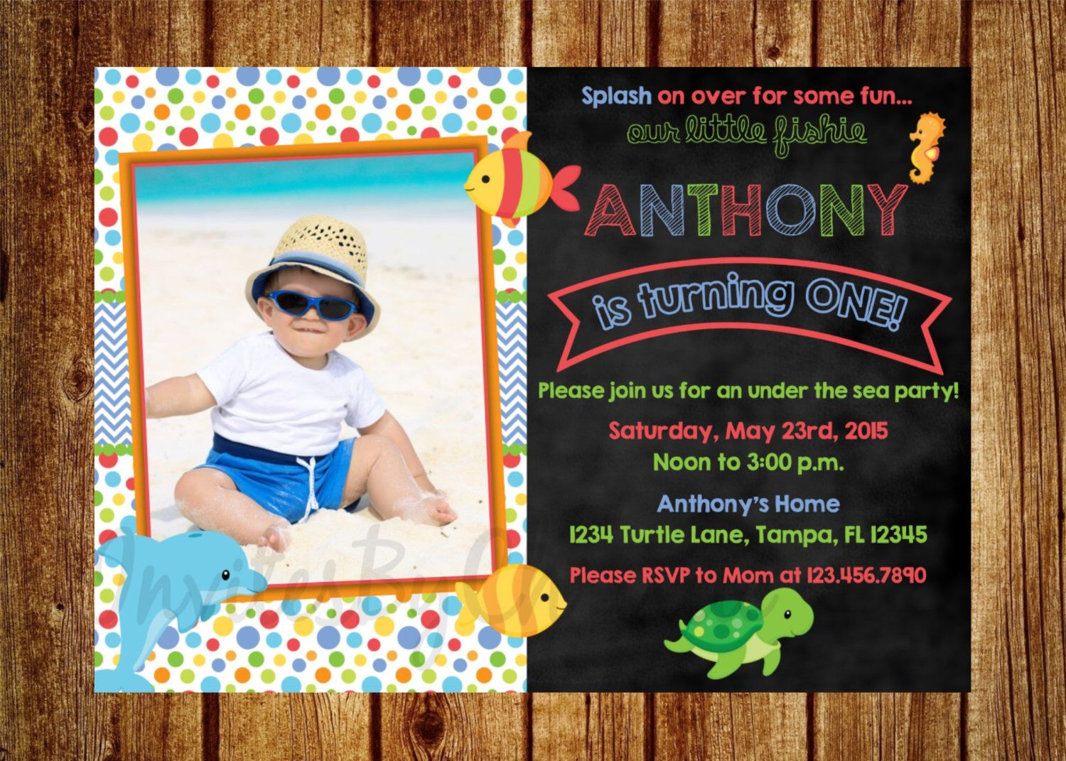 handmadest birthday party invitations%0A Under the Sea Chalkboard Photo Birthday Invitation for Boys Digital File   DIY Printable  st