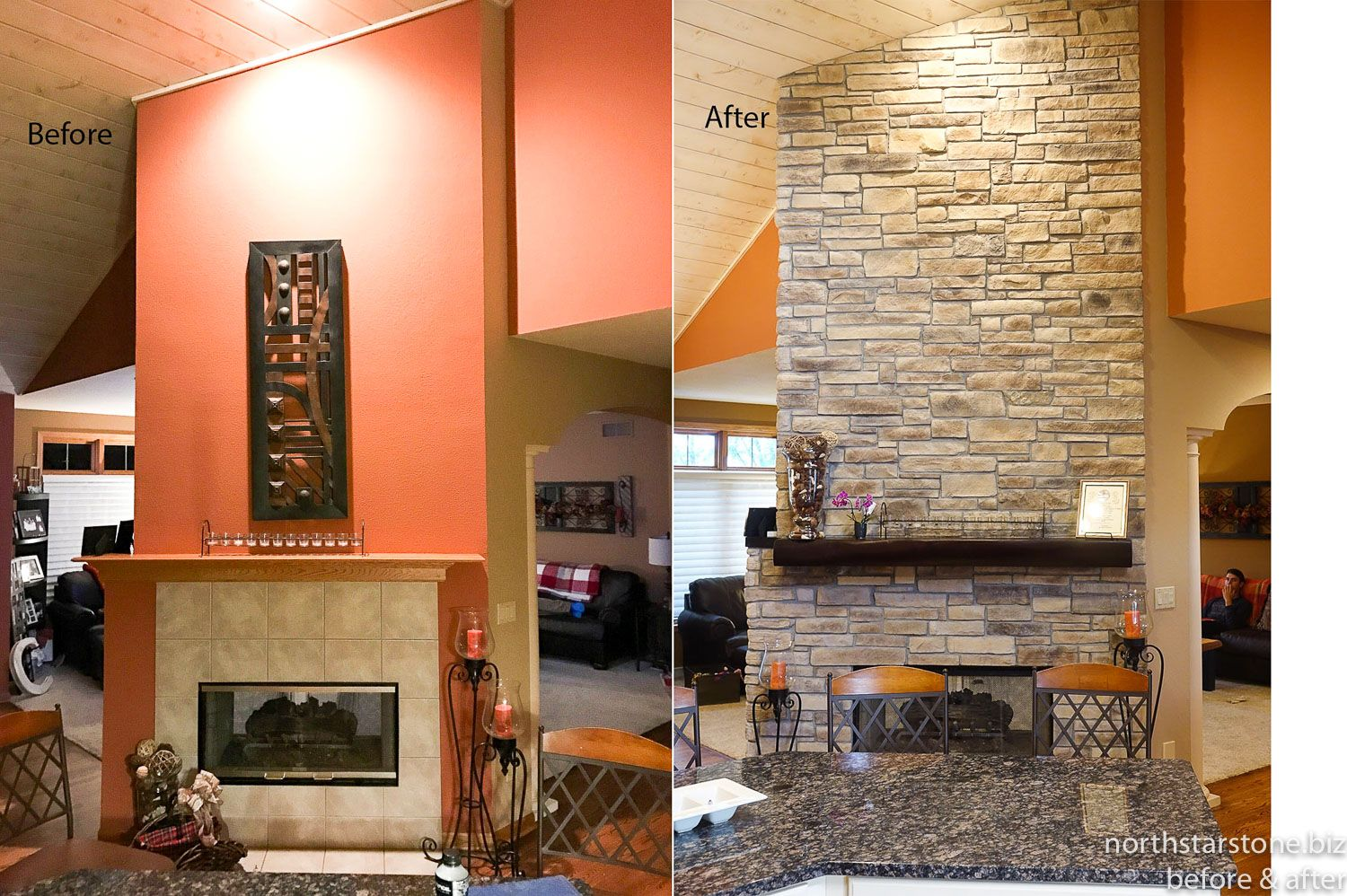This Four Sided Fireplace Was Refaced With Our New Ledge Stone In The Color Of Chateau With A Stone Fireplace Remodel Fireplace Remodel Stone Veneer Fireplace