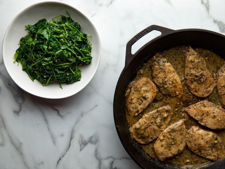 Mustard Herb Chicken Cutlets and Garlic Spinach -