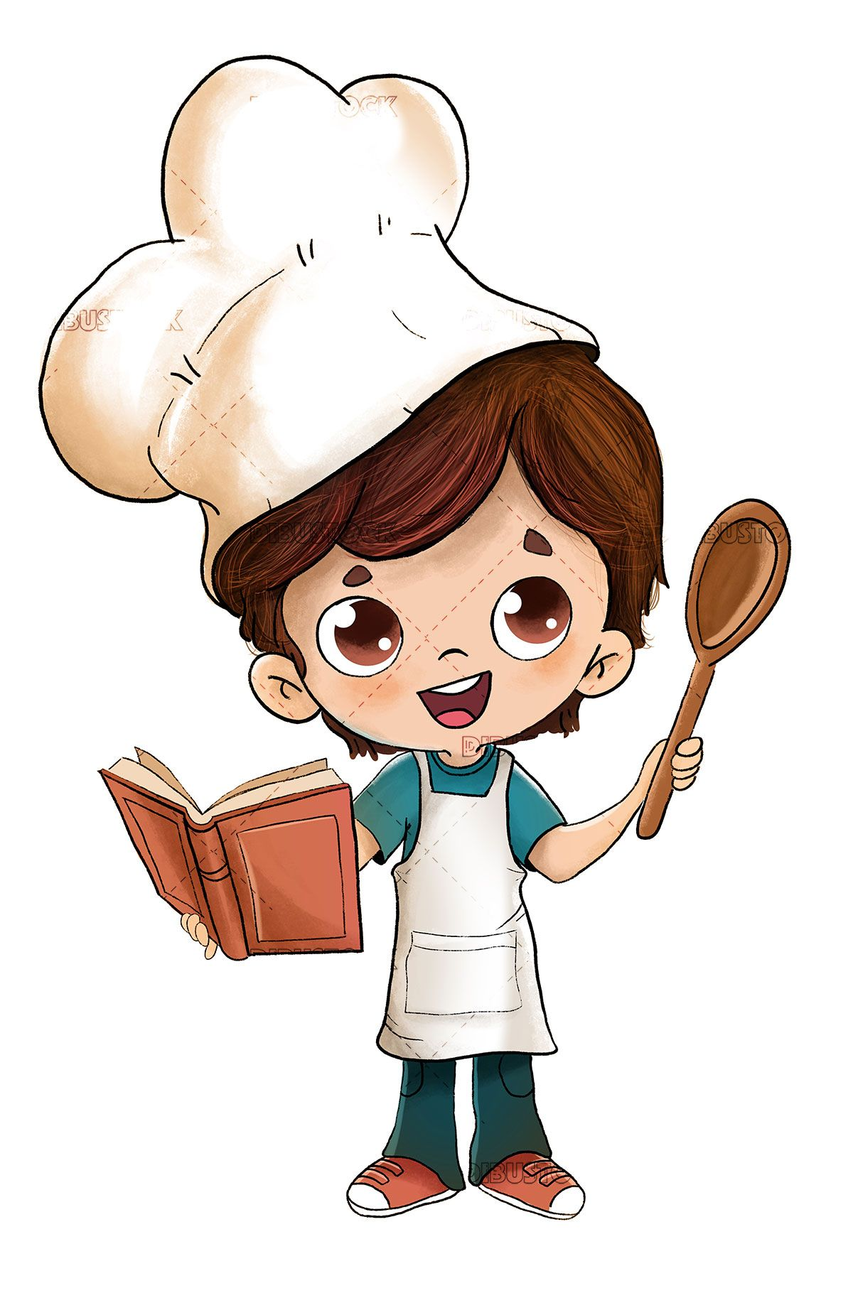 Boy Cooking With A Recipe Book In 2020 Cute Boy Drawing Little Boy Drawing Cartoon