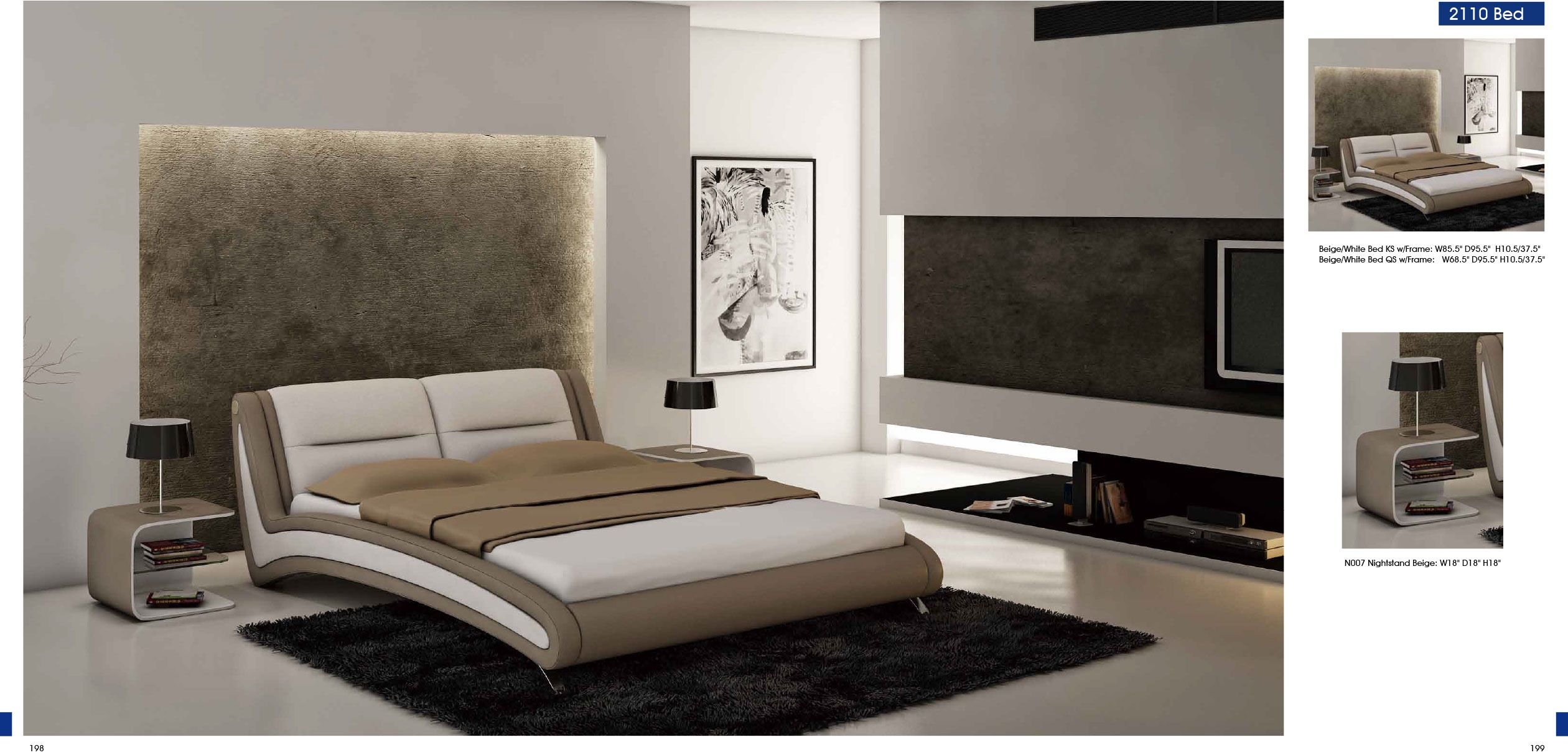 Bedroom Furniture Bedroom Furniture Modern Bedrooms 2110 Beige White Bed N007