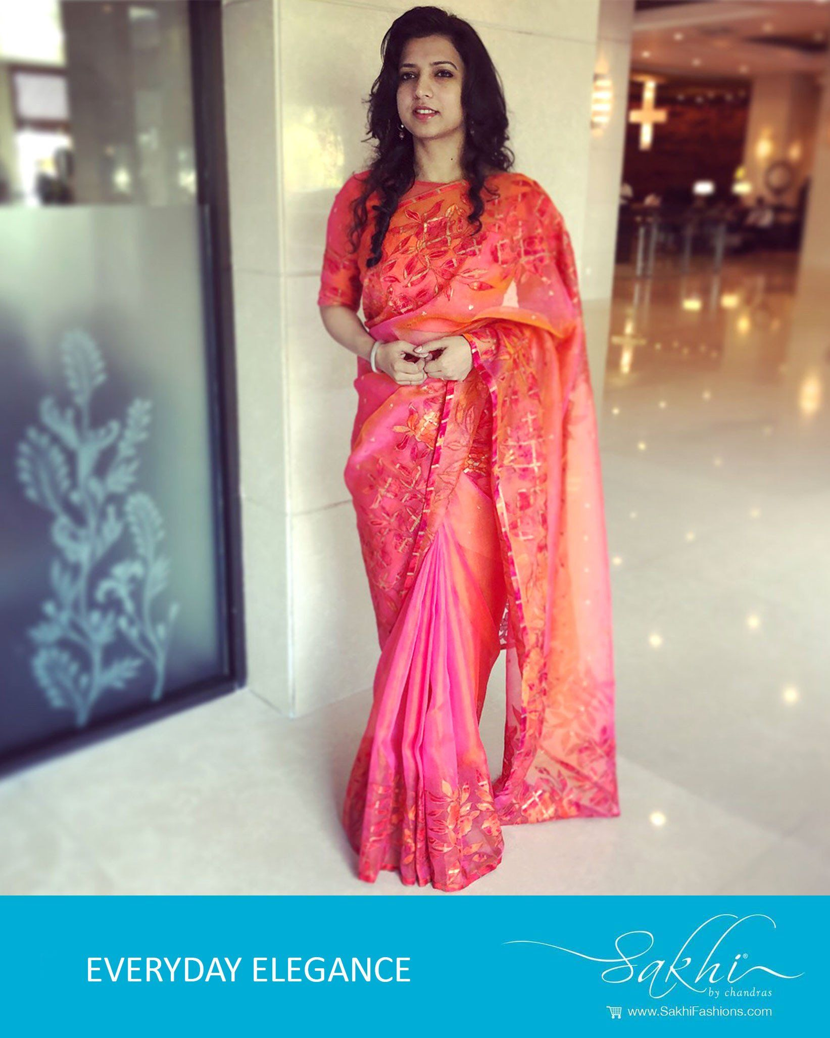 fbf1b58524 Buy Peach & Pink Pure Organza Silk Saree online at Sakhi Fashions. Order  now for free worldwide shipping
