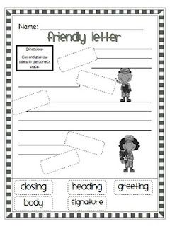 Friendly Letter Format Elementary School. free friendly letter cut and paste worksheet  Google Search