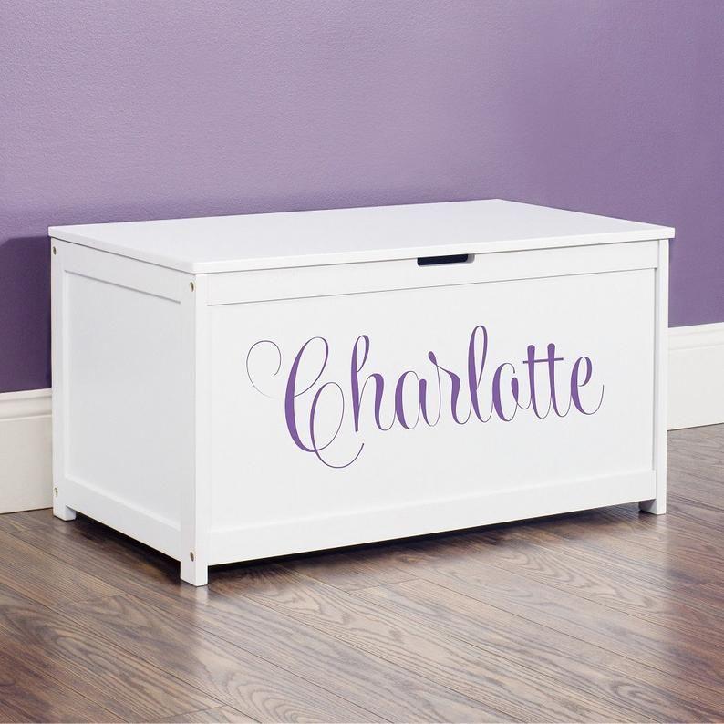 PERSONALISED NAME Children TOY BOX VINYL STICKER DECAL WALL ART Custom Pink