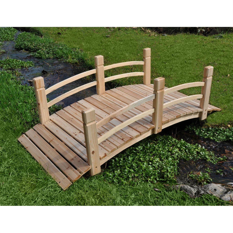 4-Ft Garden Bridge with Rails in Cedar Wood | Cedar wood, Bridge and ...