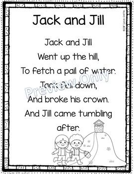 Jack And Jill Printable Nursery Rhyme Poem For Kids Nursery