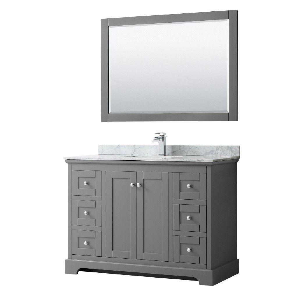 48 Inch Single Bathroom Vanity In Dark Gray White Carrara Marble Countertop Undermount Marble Vanity Tops Single Bathroom Vanity Single Sink Bathroom Vanity