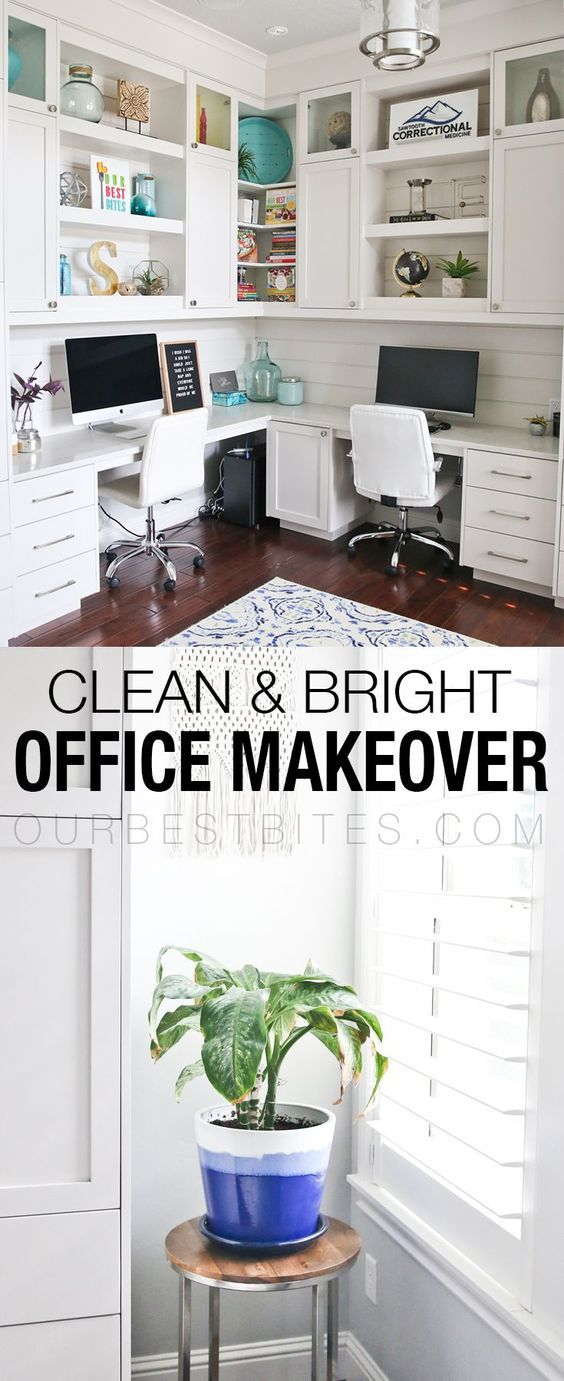 An office makeover with white built in shelving