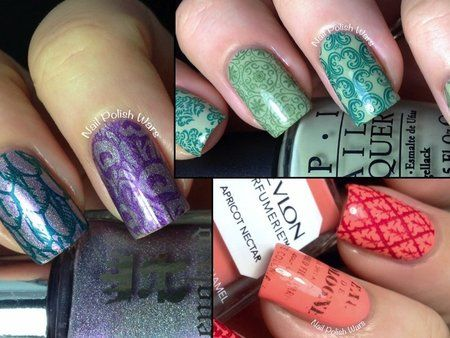 Messy Mansion Stamping Plates #purple #orange #green #stampednails #nails #Nailart #nailpolish #polishaddict - bellashoot.com #holidaynails