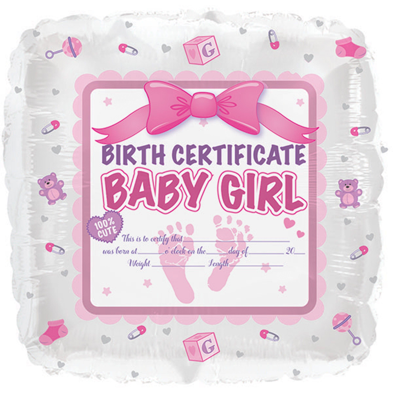 17 baby girl birth certificate foil ballooncase of 5 tags foil 17 baby girl birth certificate foil ballooncase of 5 tags foil balloon aiddatafo Choice Image