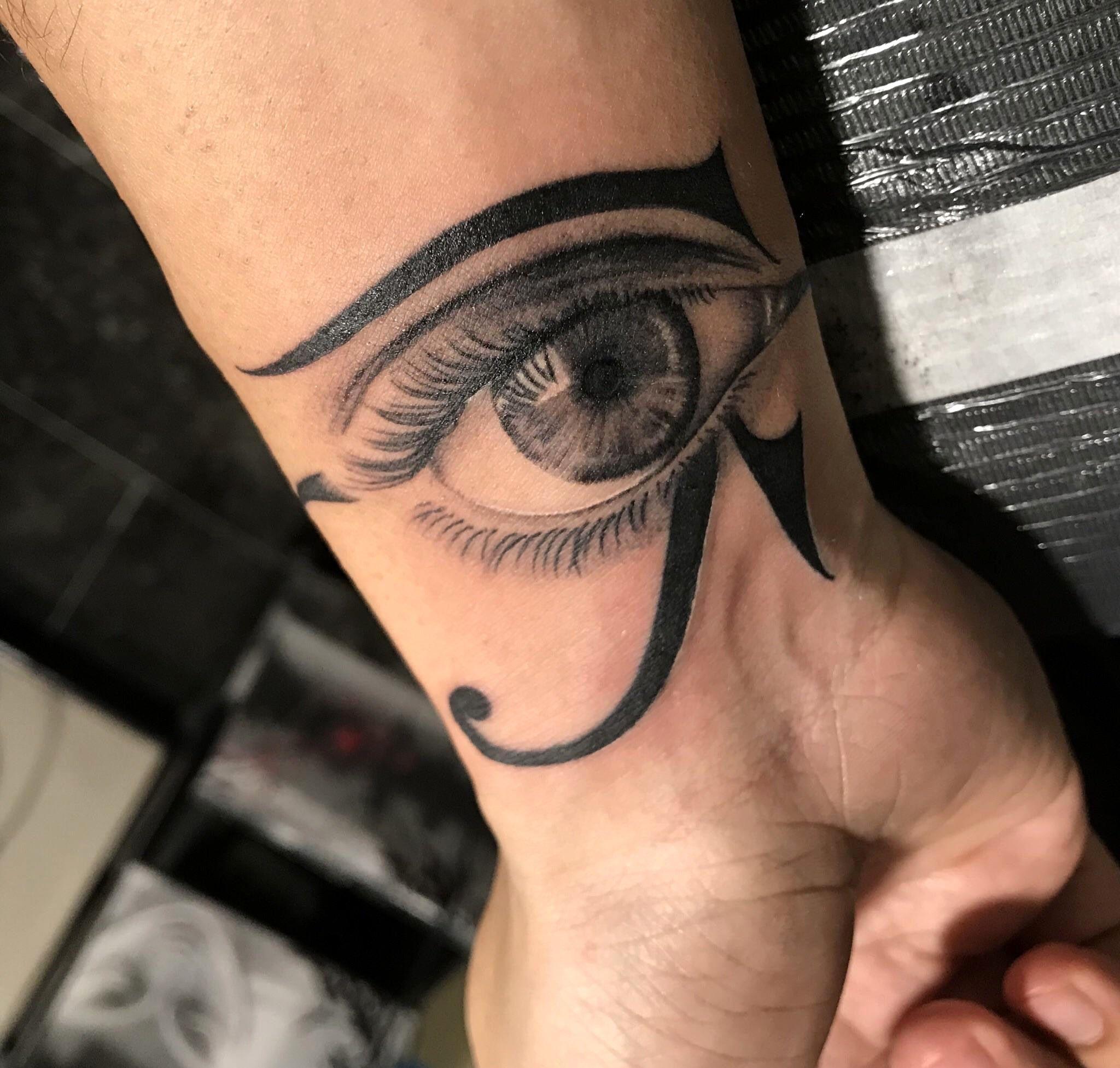 Realistic Eye Tattoo On Neck