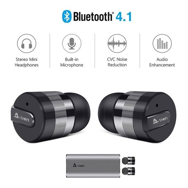 c8c5b6dd8ab True Wireless Earbuds w/Portable Charger. A-TION® Bluetooth Headphones  Smallest Cordless Hands-free Mini Earphones Headset w/ Mic Noise Reduction  ...