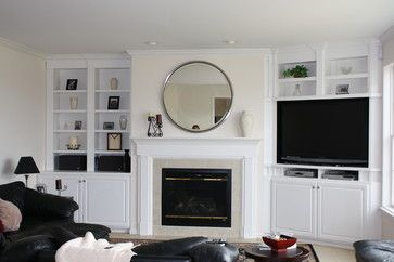 Tv In Bookshelf In Corner Fireplace Built Ins Traditional Family Rooms New Living Room
