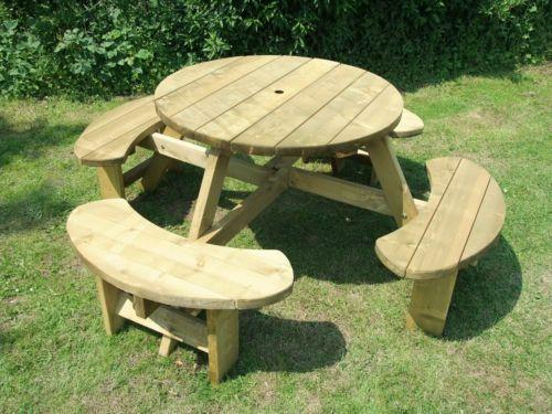 picnic table 8 seats round pub bench garden furniture winchester rh pinterest com