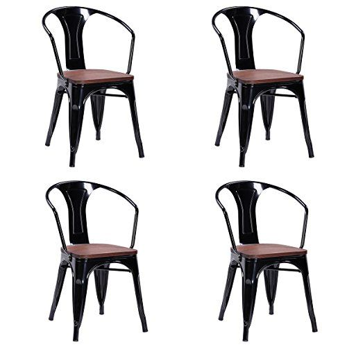 costway tolix style dining chairs industrial metal stackable cafe rh pinterest ca