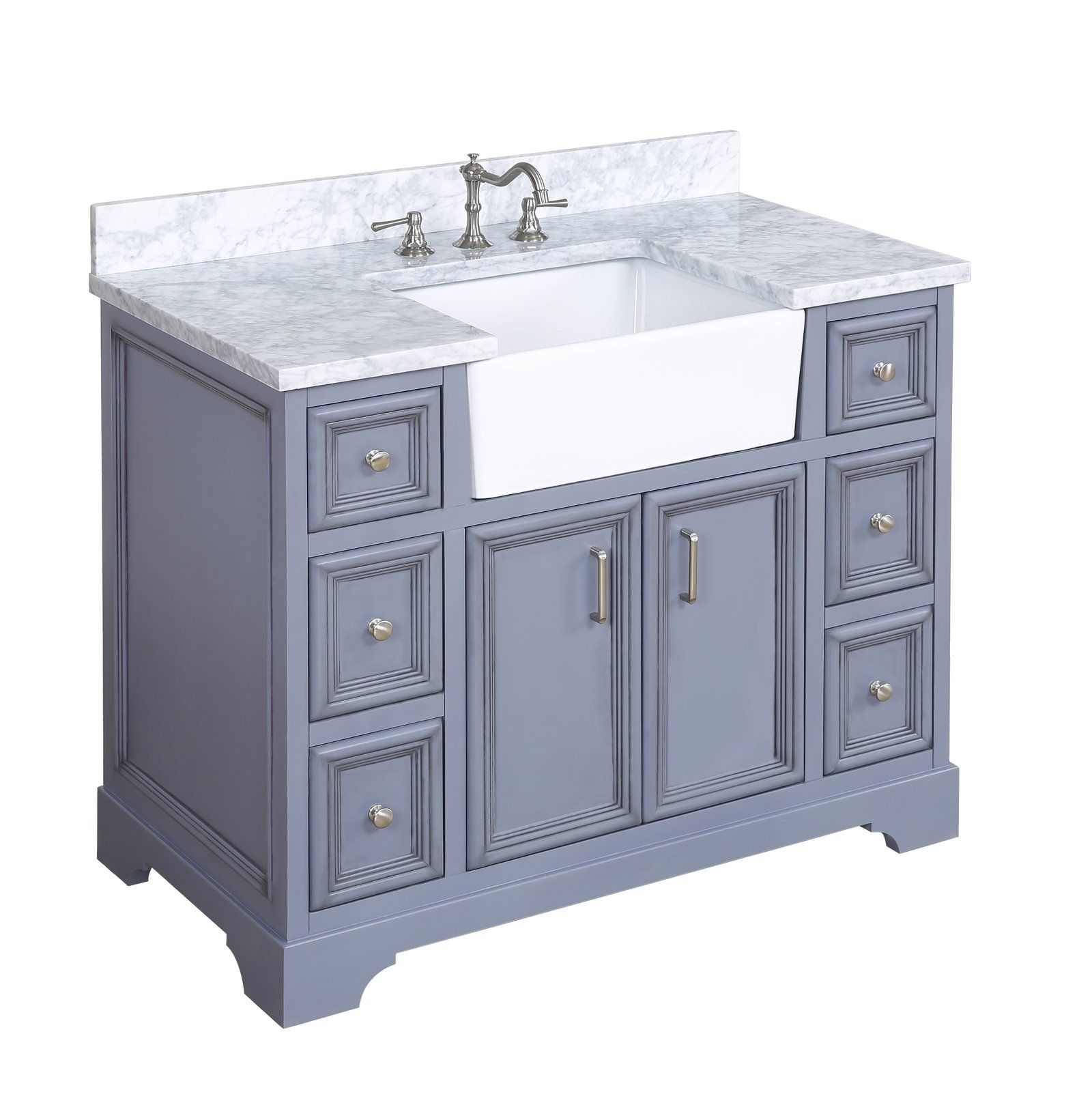 Zelda 42inch Farmhouse Vanity with Carrara Marble Top in