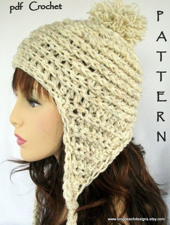 Crochet Hat Pattern, ALL SIZES, Baby/ Toddler/ Child/ Teen Adult Ear ...