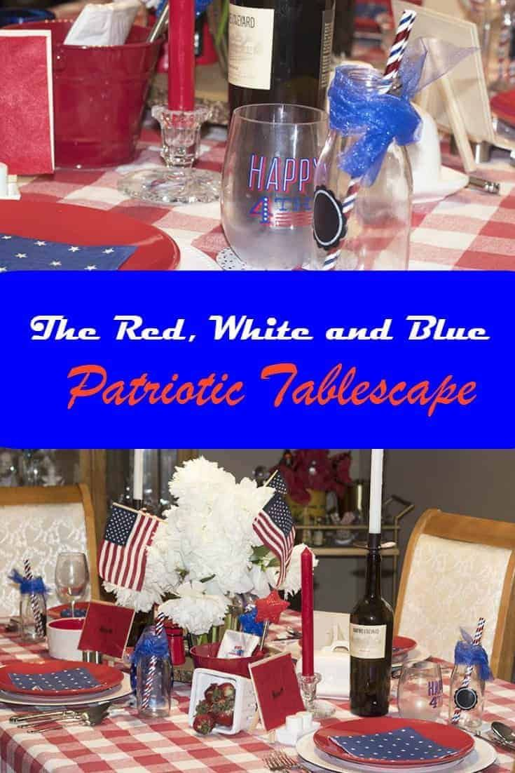 Adding some Blue to my Tablescape has created the perfect July 4th tablescape.  Do you celebrate Independence Day with a pretty table? #tablescape #july4th #independence day #redwhiteandblue #alabouroflife #july4thtable #independencedaytable #patriotictable