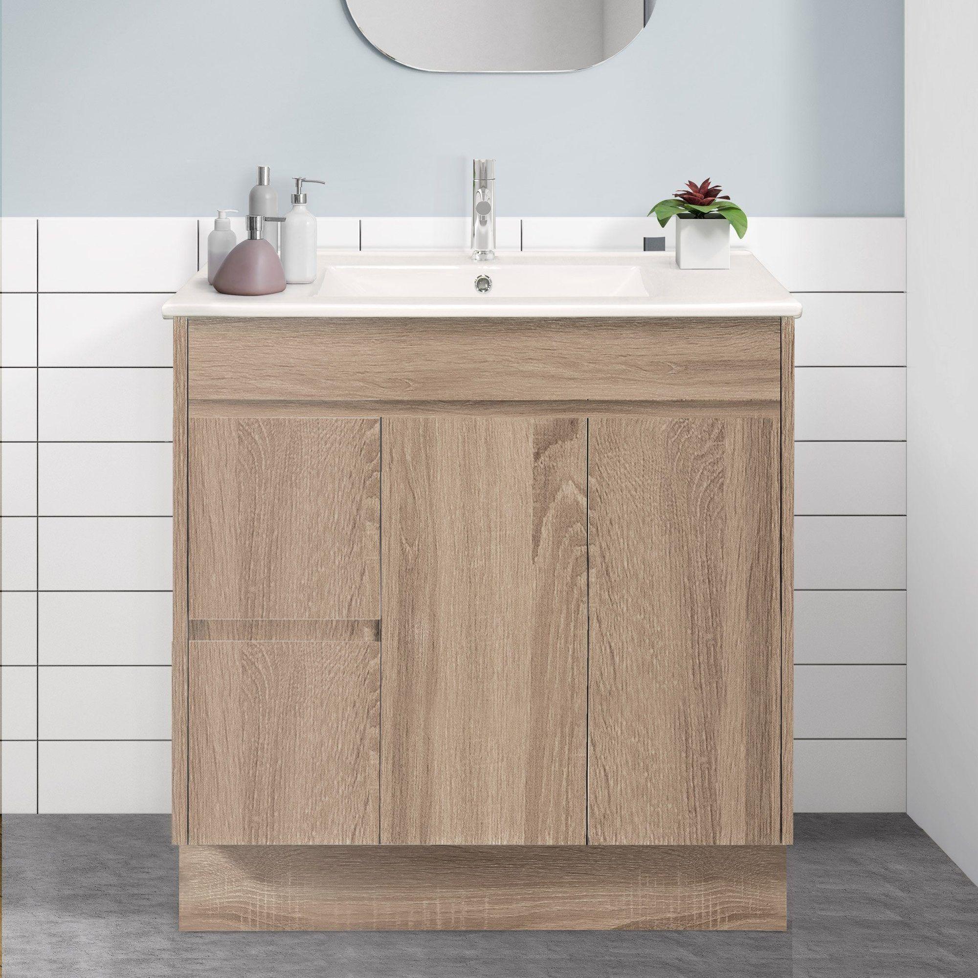 90cm Oak Timber Bathroom Vanity Cabinet Floor Standing