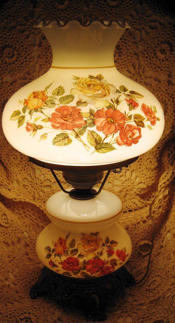 RARE Romantic Vintage Hurricane Parlour Lamp stamped on base ...