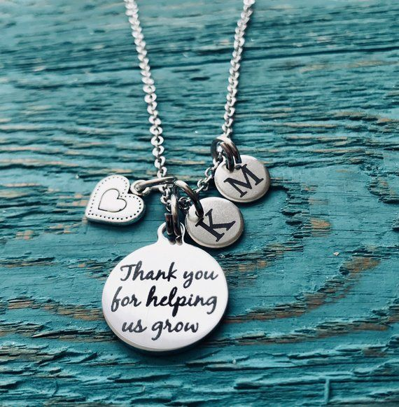 Thank you for, helping US grow, SCBU, Neonatal, Childminder, Thank you gift, premmie, Nanny, babysitter. Silver Necklace, Charm Necklace