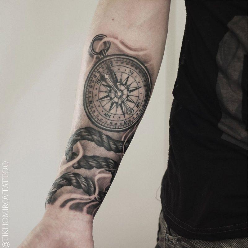 Картинки по запросу тату на всю руку компас   Татуировка ...
