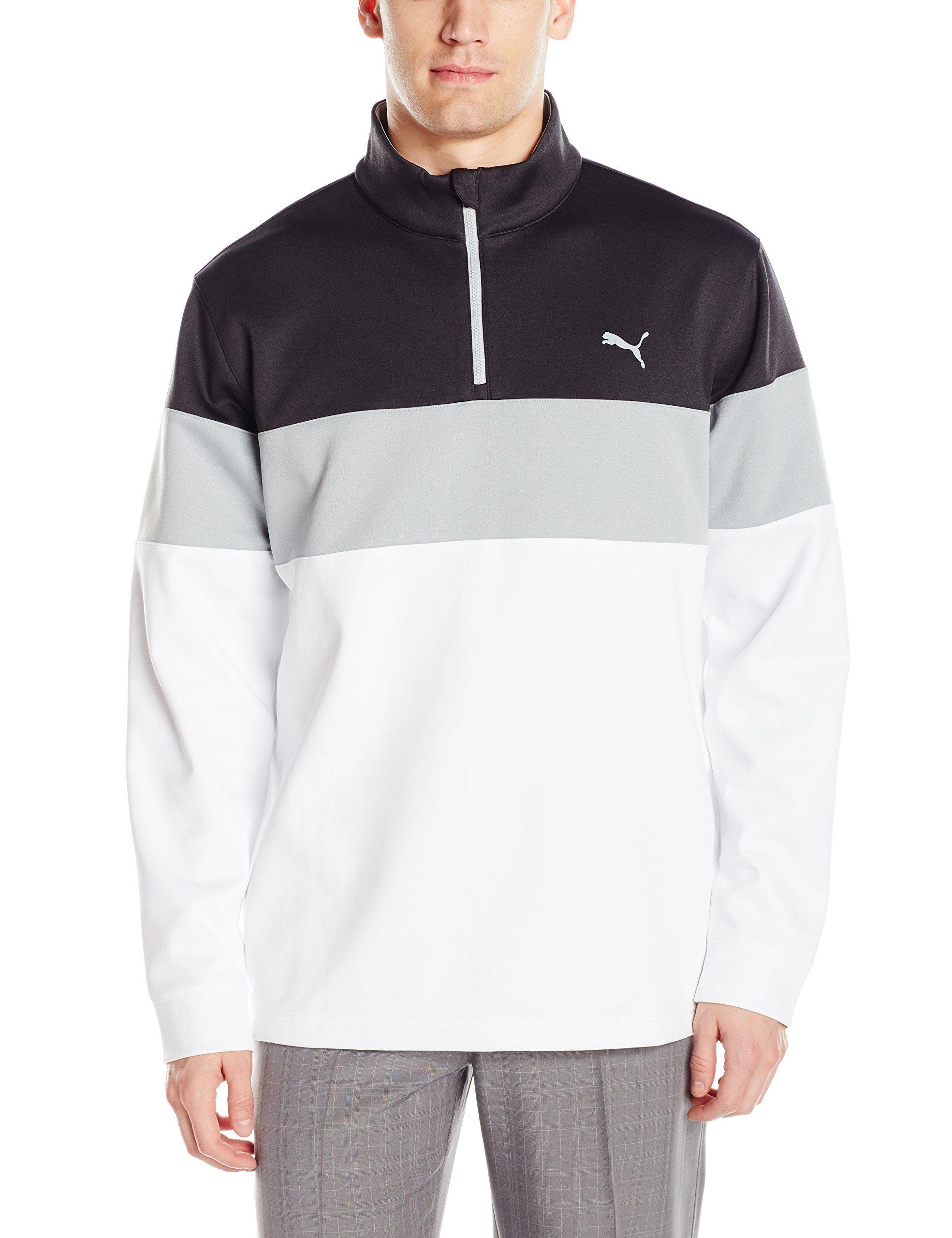 a7875a961aa4 Men Golf Clothing - PUMA Golf 2017 Mens Pwrwarm 1 4 Zip Popover Bright  White Dark Grey Heather XLarge