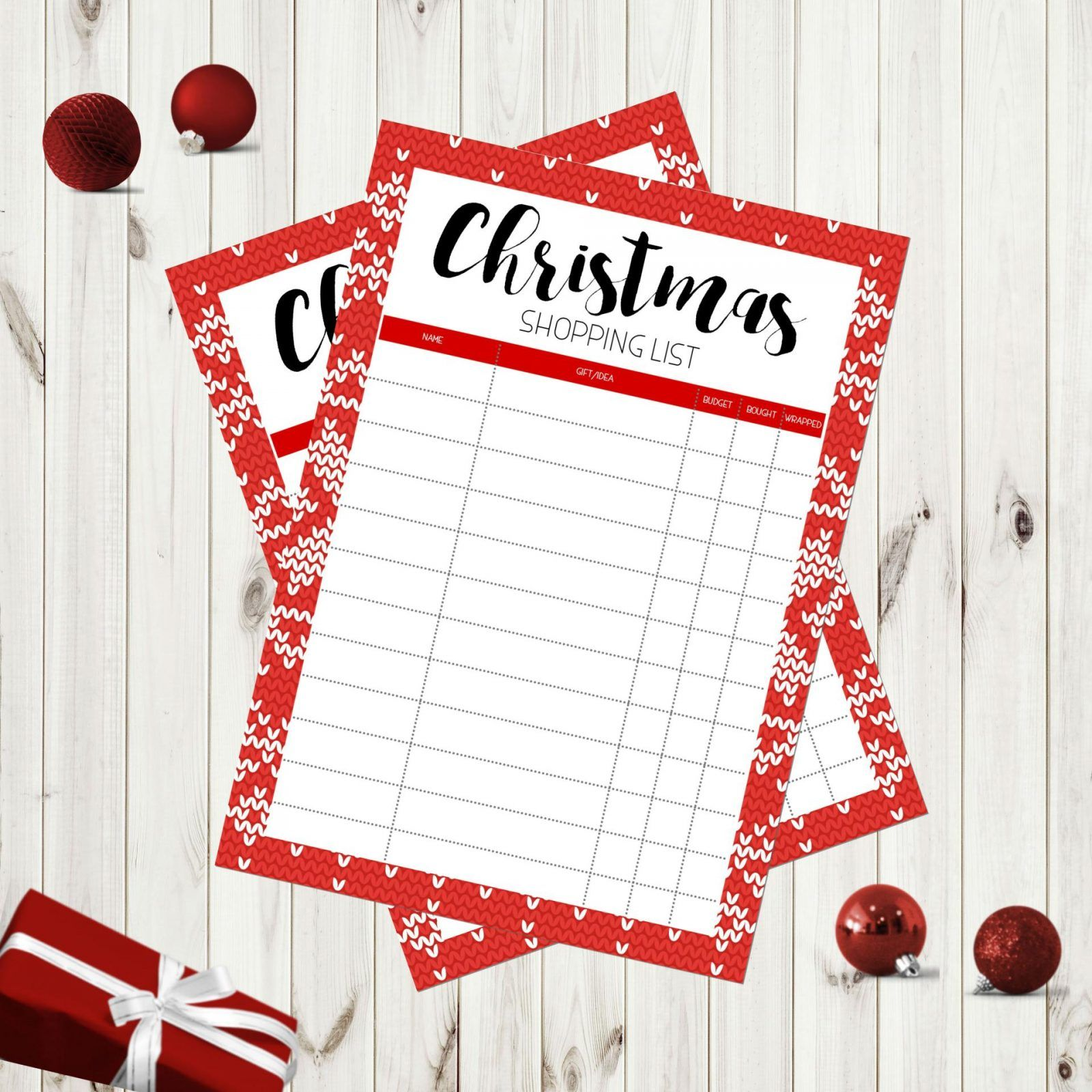 christmas shopping list free printable