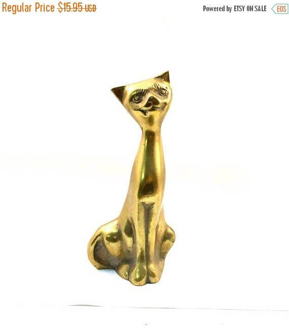 Spring Sale Brass Cat Kitten Vintage Figurine Antiqued Genuine