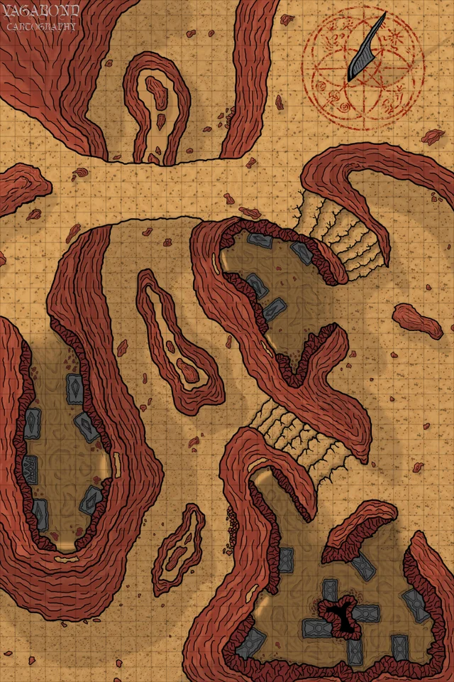 [OC][Battlemap][30x45][6000x9000px] Canyon Cave Tombs. The