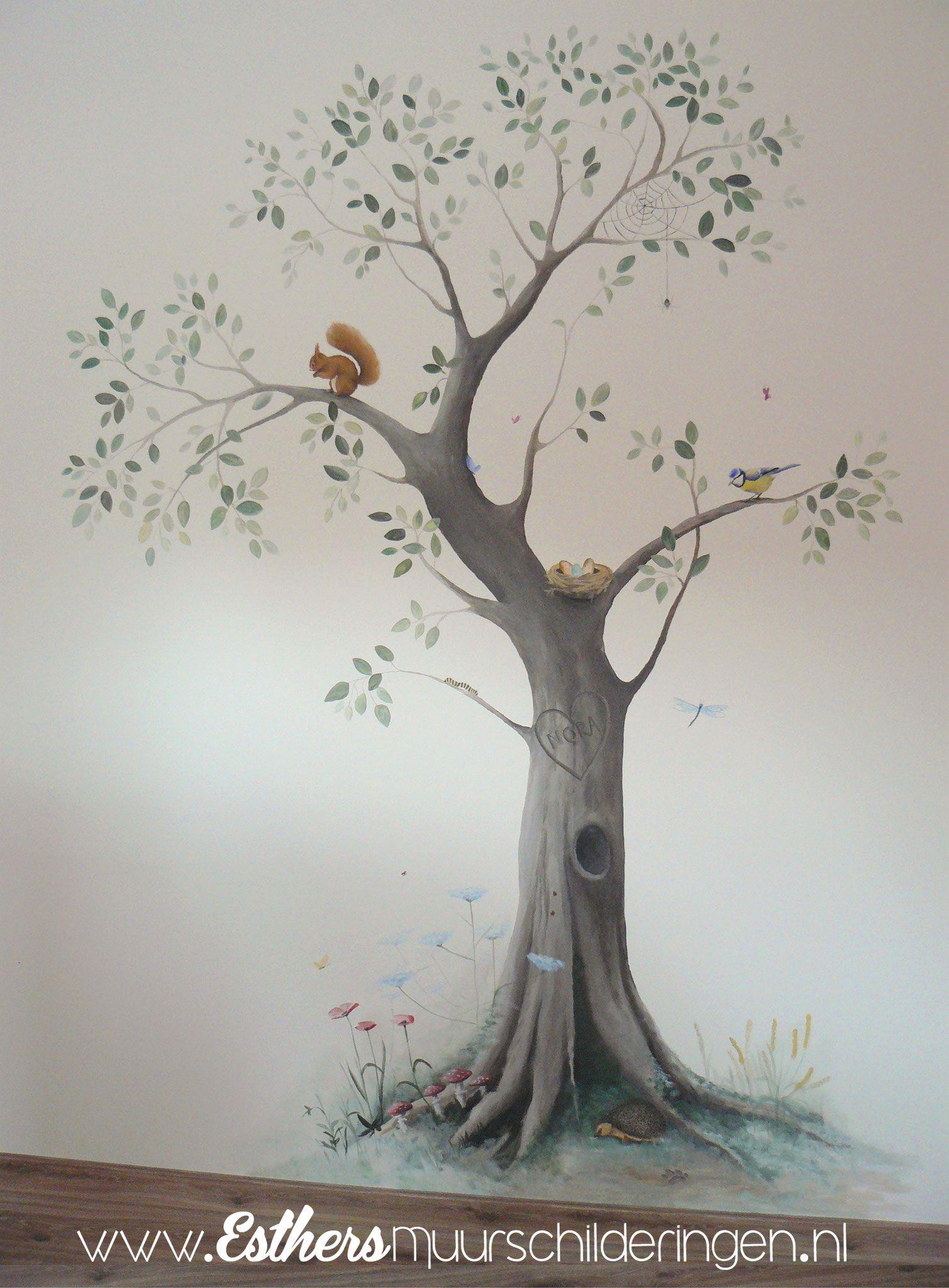 Boom Voor Babykamer.Muurschildering Boom Muurschilderingen Met Bomen Takken Met Dieren