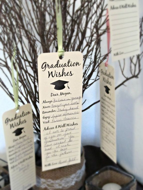 Set of 8 Graduation Party Wishing Tree Tags / Bookmark Keepsake / Wishes for the Graduate