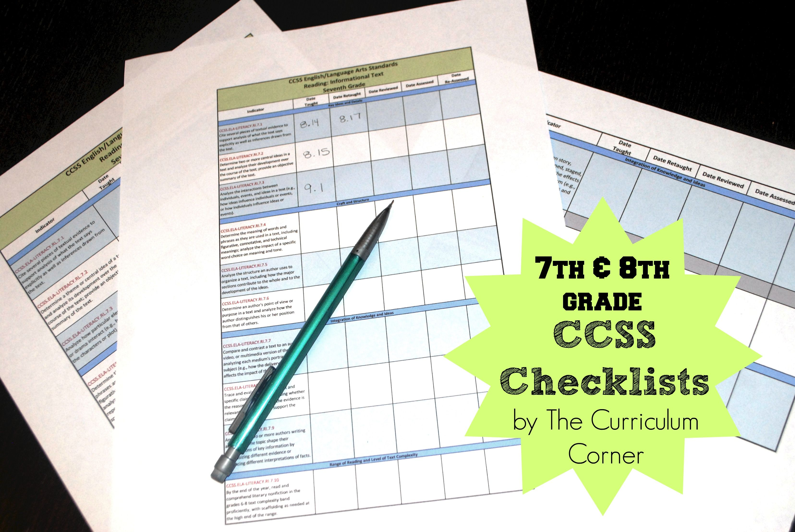 Updated 7th And 8th Grade Ccss Checklists