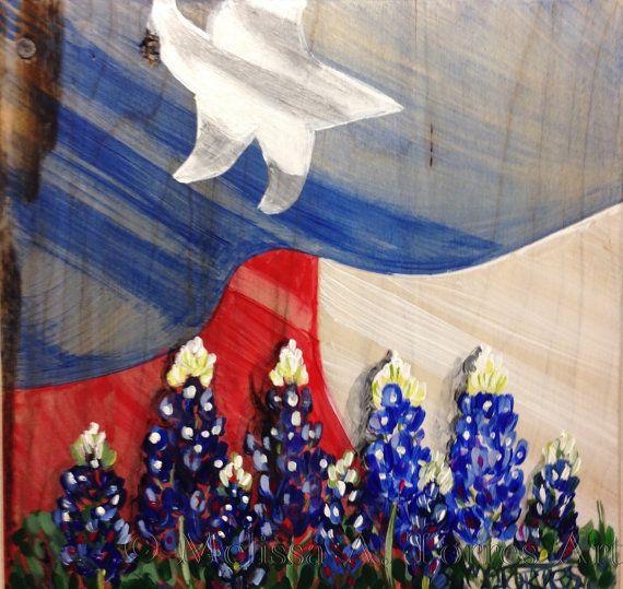 Texas Flag And Bluebonnets 9x9 Acrylic On Wood Painting Etsy Painting Blue Bonnets Flag Painting
