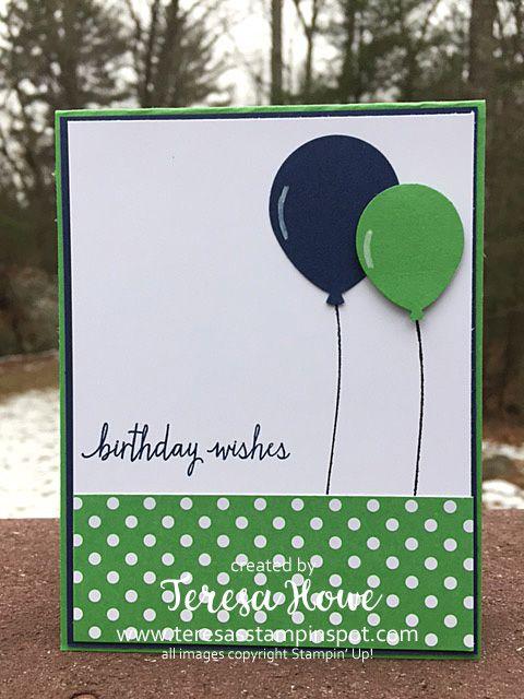 Stampin Up! Build a Birthday stamp set, Balloon Celebrations stamp set