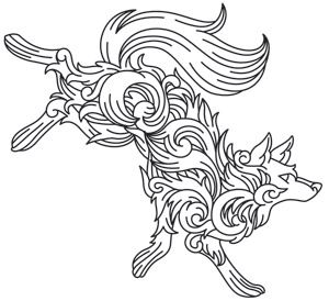Flowing flourishes make up the shape of a leaping wolf. Downloads as a PDF. Use pattern transfer paper to trace design for hand-stitching.