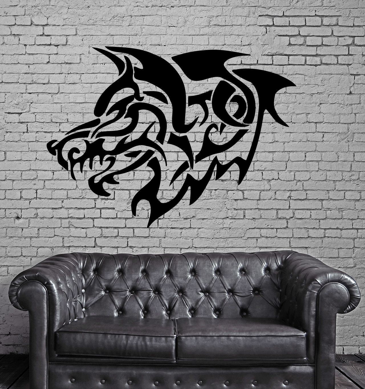 Grey Wolf Roar Tribal Decor Wall Mural Vinyl Art Sticker