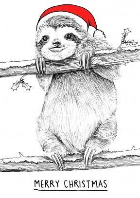 Sloth Christmas| Unusual Christmas Card A very merry Christmas ...