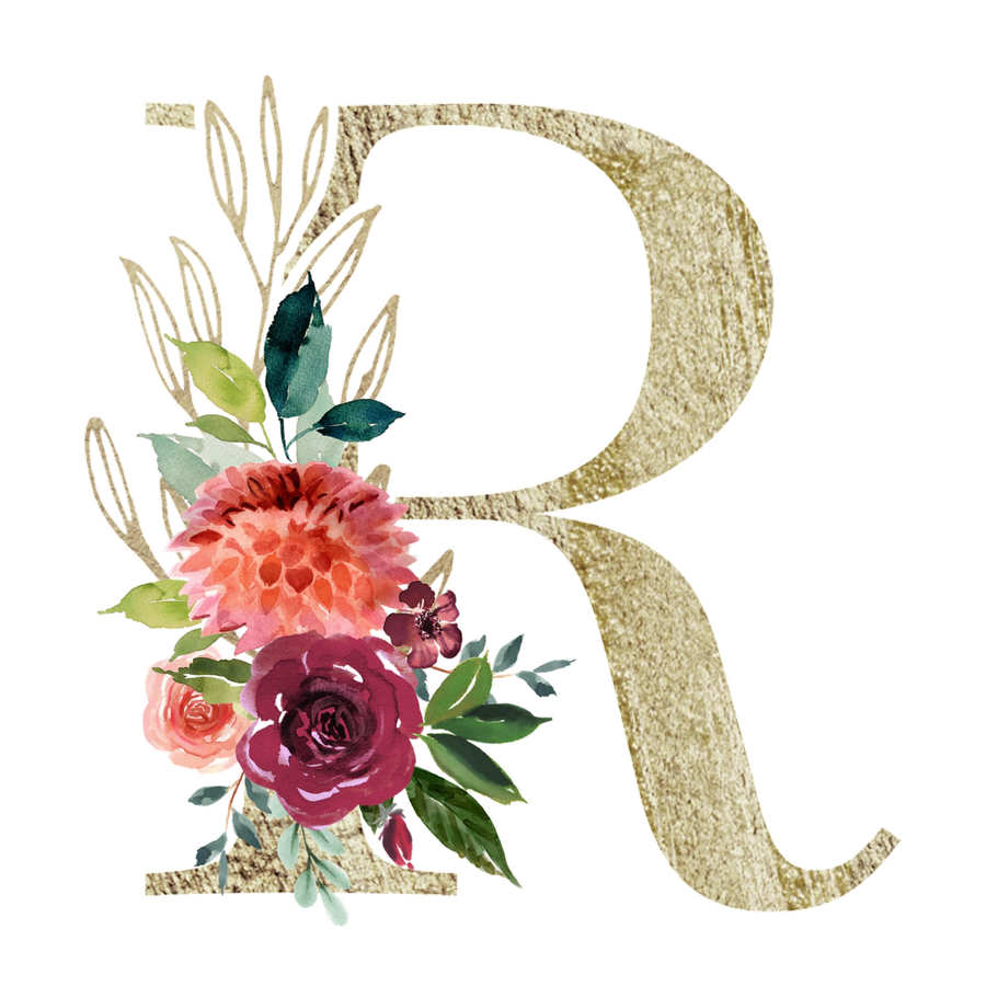 Letter R Monogram Gold And Watercolor Flowers Acrylic Box By Enframe Photography Design 4 X 4 X 3 Watercolor Flower Art Flower Art Watercolor Flower Prints