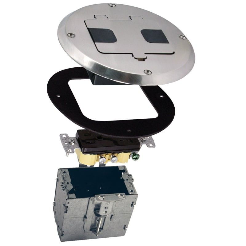 Raco 6239 5 5 8 Recessed Floor Box Nickel Rough Electric Boxes Flooring Floor Outlets Floor Outlet Cover