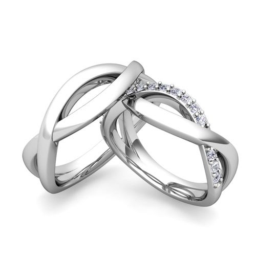 Custom Infinity Wedding Ring Band for Him and Her with Diamonds ...