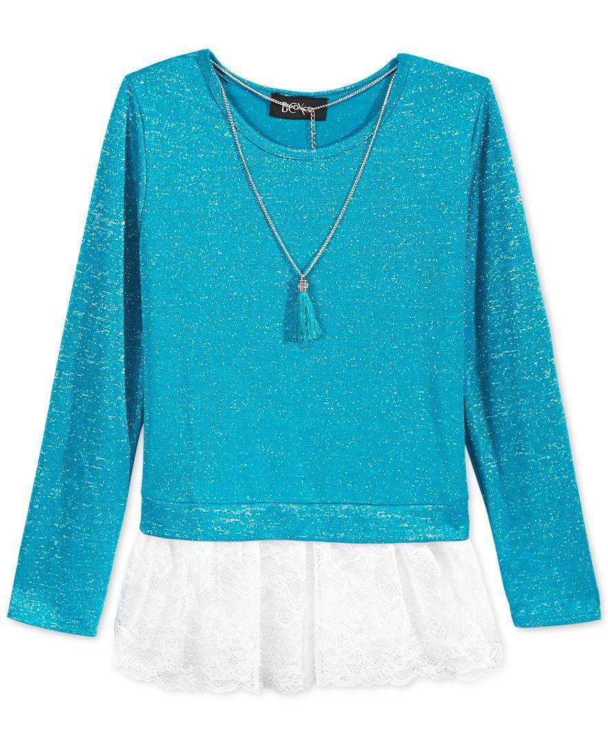 Bcx Girls' Lace-Peplum Sweatshirt