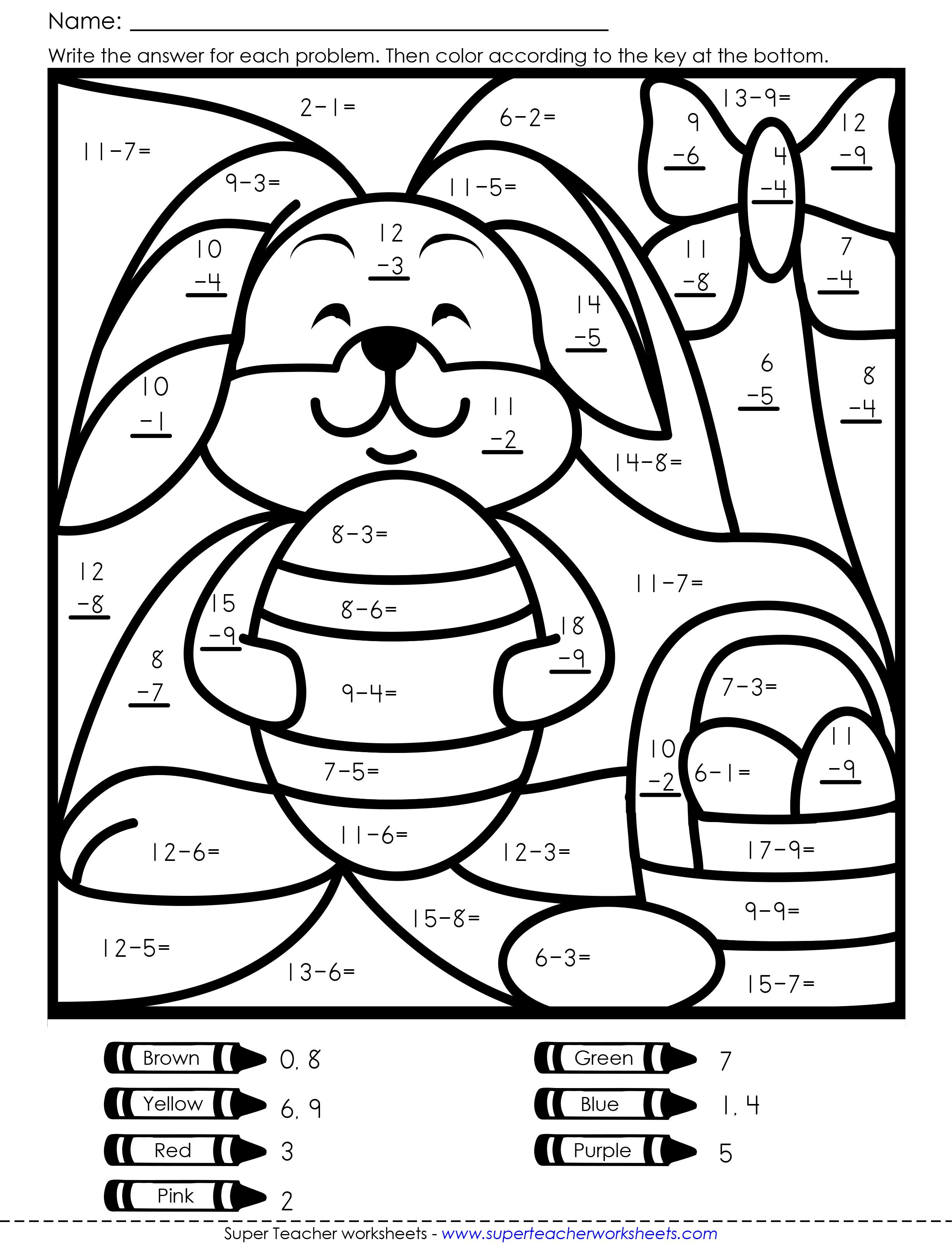 Colouring in maths game Easter worksheets, Math