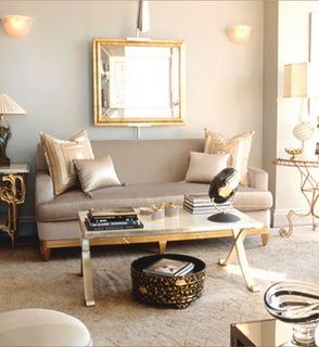 Taupe Gold Chic Living Room Design Love The Silver Gold Beveled