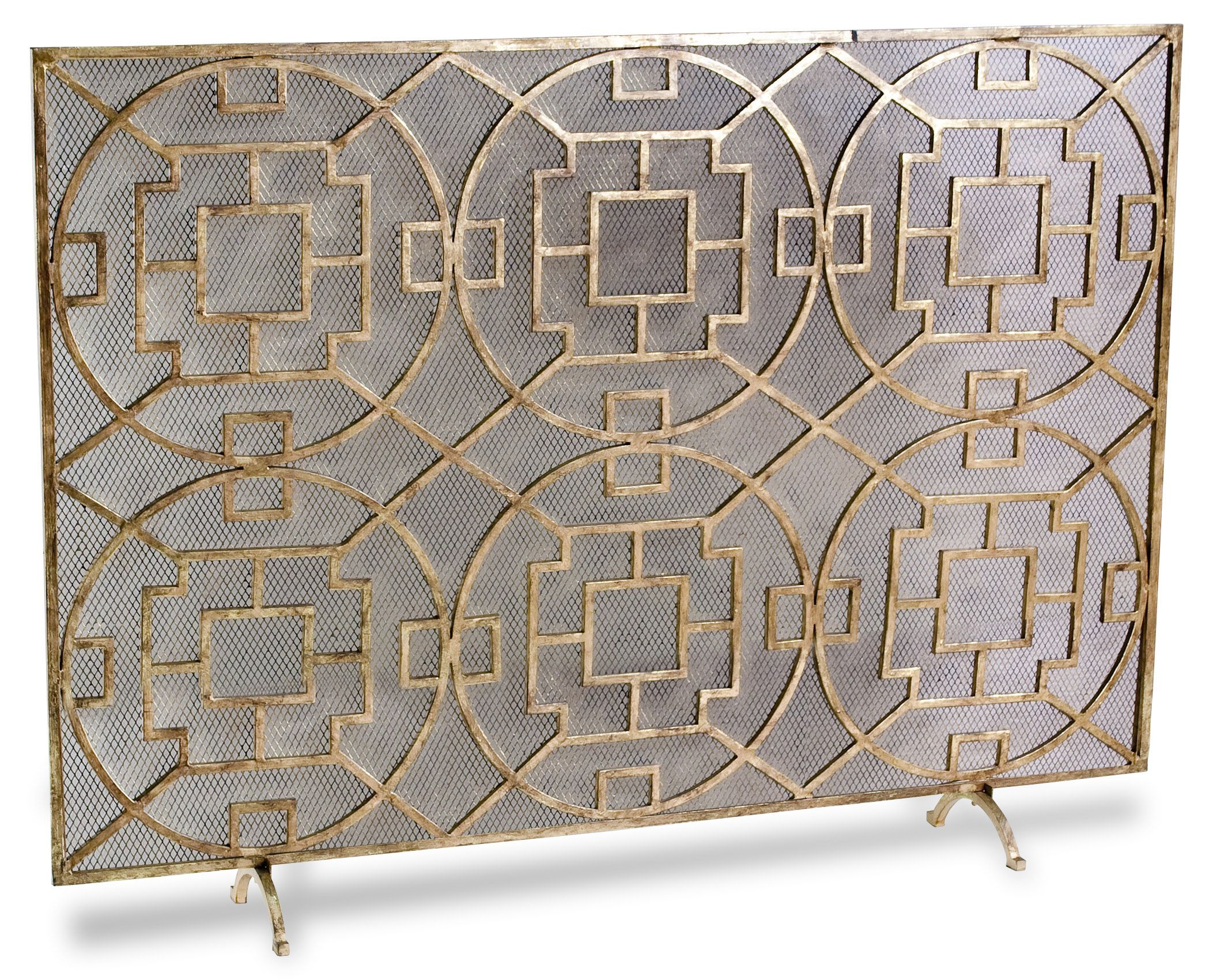 Pyra Modern Transitional Gold Leaf Medallion Fireplace