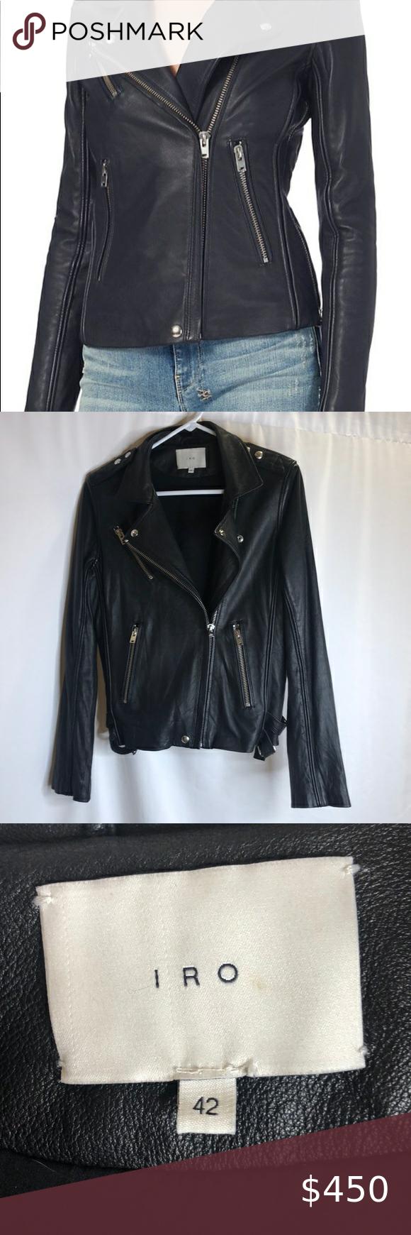Iro Tara Leather Moto Jacket Black Sz Fr 42 Us 10 Leather Moto Jacket Beige Leather Jacket Iro Leather Jacket [ 1740 x 580 Pixel ]