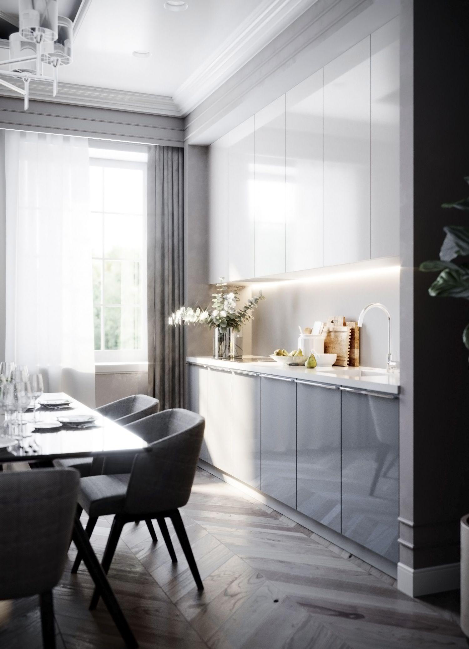 Living Room Kitchen Design Interior Vizualization Gostinaya