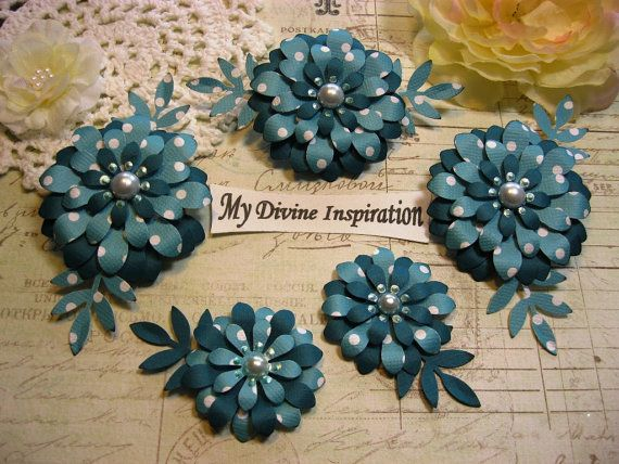 Teal Handmade Paper Embellishments and by mydivineinspiration