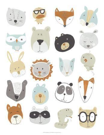 'Friendly Faces' Art Print – June Erica Vess | Art.com